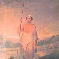 Origin Stories Painting of Wiyot elder Ki-we-lah-tah. Courtesy of the Clarke Historical Museum.
