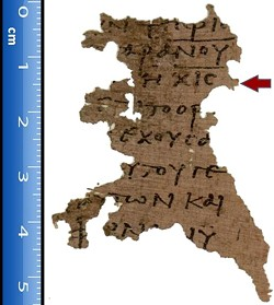 """WIKIMEDIA COMMONS - Papyrus fragment """"P. Oxy. 4499,"""" now at Oxford University, is the oldest witness to Revelation 13:18. The third line gives 616 for the Number of the Beast."""