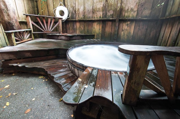 The outdoor tub at Finnish Country Sauna and Tubs - PHOTO BY DREW HYLAND