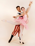 Pirate Jared Mathis and ballerina doll Kelly Gordon of Trillium Dance Studios.