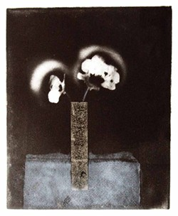 "PHOTO BY KEN WEIDERMAN. - ""Poppies in Black and White,"" a solarplate intaglio by Libby George."