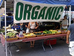 Produce stand at New York City's Farmers Market. Photo by Chuck Gonzales