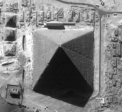 Pyramid of Khufu from 400 miles high. Ikonos