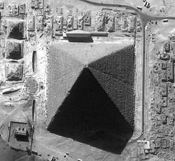 Pyramid of Khufu from 400 miles high. Ikonos