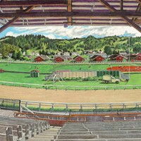 Jack Mays Artwork Racetrack Triptych (Humboldt County Fairgrounds), center panel Colored pencil drawing by Jack Mays, image courtesy of Carrie Grant