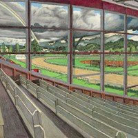 Jack Mays Artwork Racetrack Triptych (Humboldt County Fairgrounds), left panel Colored pencil drawing by Jack Mays, image courtesy of Carrie Grant