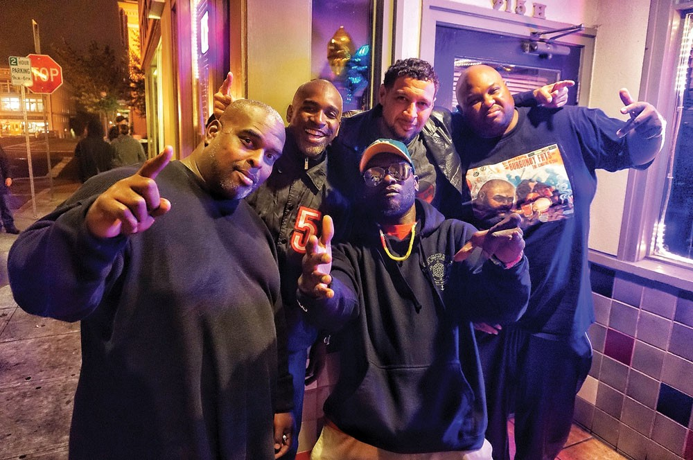 Rappers of Freestyle Fellowship, (right to left) Self Jupiter (aka Burgundy Fats), Myka 9, P.E.A.C.E., Aceyalone, and The Driver, stop by the Jambalaya in Arcata for a Monday night show Aug. 11, backed by The Getdown. - PHOTO BY BOB DORAN