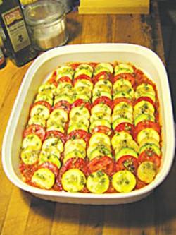 Ratatouille in a baking dish. Photo by Lysa La Pointe.