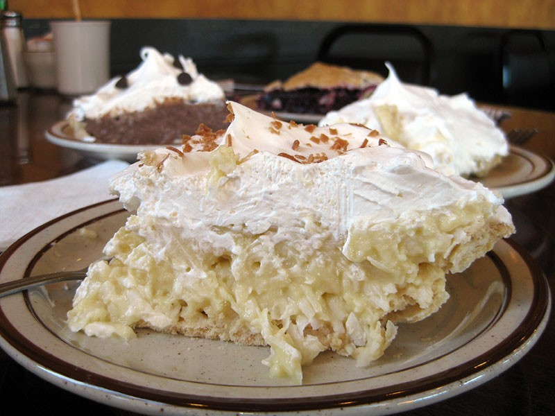Real coconut cream pie. - JENNIFER FUMIKO CAHILL