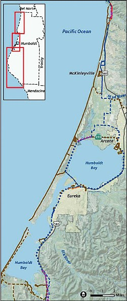 MAP COURTESY OF THE HUMBOLDT COUNTY COASTAL TRAIL IMPLEMENTATION STRATEGY (2011) BY THE STATE COASTAL CONSERVANCY AND REDWOOD COMMUNITY ACTION AGENCY WITH MAPPING BY ALTA PLANNING + DESIGN. - Recommended alignments for the California Coastal Trail through Humboldt County.