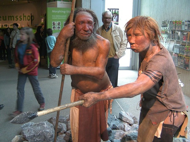Reconstruction of Neanderthal man and woman in the Neandertal-Museum, Düsseldorf, Germany. One trillion seconds have passed since the last of their kind died out. - UNIESERT, WIKIPEDIA COMMONS