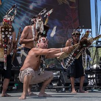 Karuk and Yurok men demonstrate a brush dance at the 30th Annual Reggae On The River 2014, Friday Aug.1.