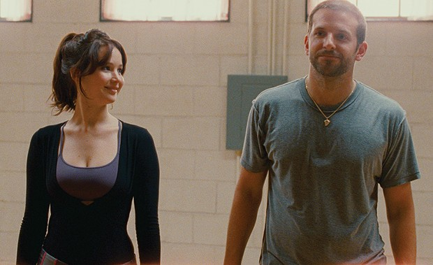 Rehearsing for the no-pants dance: Jennifer Lawrence and Bradley Cooper in Silver Linings Playbook.