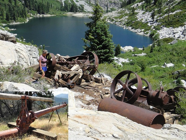 Remains of a steam donkey, winches and gears overlooking 5,500 ft. Emerald Lake in the Trinity Alps Wilderness. The equipment was used to build dams on Emerald and Sapphire lakes, in order to supply water to the LaGrange Mine nearly 30 miles away. - PHOTO BY BARRY EVANS