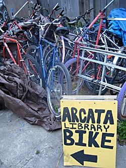 Remnants of the former Arcata Library Bikes. Photo by Meghannraye Sutton.