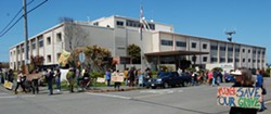 PHOTO BY ANDREW GOFF - RICHARDSON GROVE PROTESTS AT CALTRANS OFFICE IN EUREKA.
