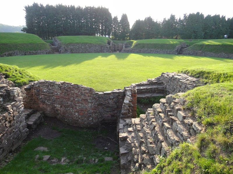 Roman military amphitheater at the legionary fortress of Caerleon, on the River Usk near Newport, south Wales. Arthurian legend links the site with Camelot. - PHOTO BY BARRY EVANS