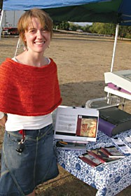 Sarah Washburn of Techsoup brought the Internet Archive Bookmobile to Woodley Island last Friday. Photo by Heidi Walters.