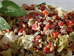 Savoy Cabbage Marries Strawberries, With Barley as Best Man and Basil as Maid of Honor. Photo by Simona Carini.