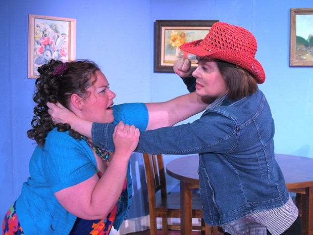 Shannan Dailey as Bitsy, Gloria Montgomery as Jimmie Wyvette in NCRT's The Red Velvet Cake War - PHOTO COURTESY OF NCRT