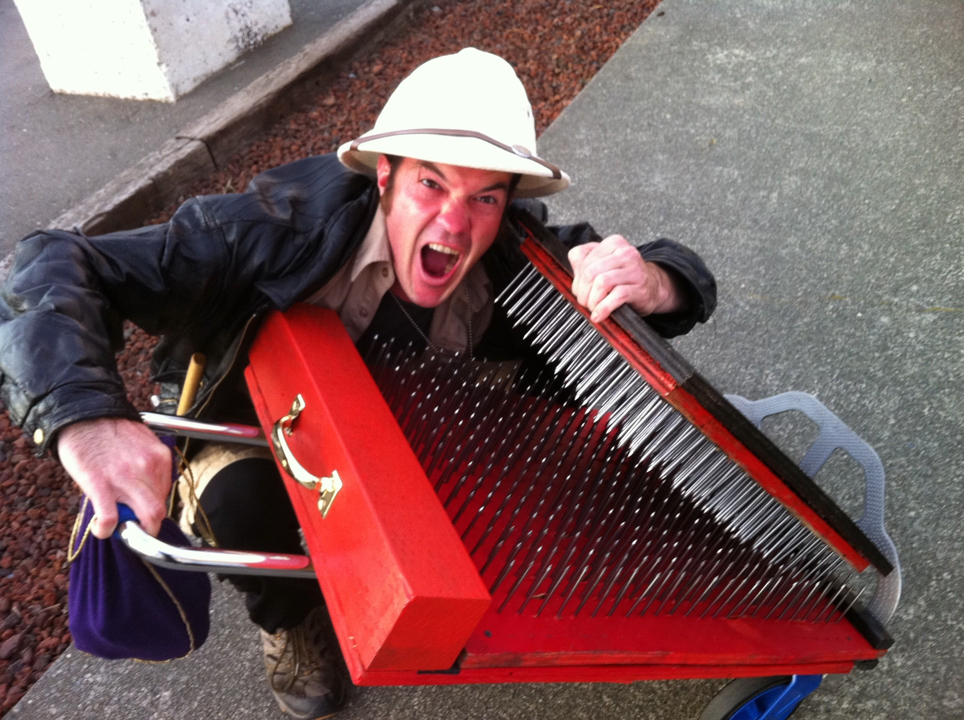 Shea FreeLove with his bed of nails - PHOTO BY BOB DORAN