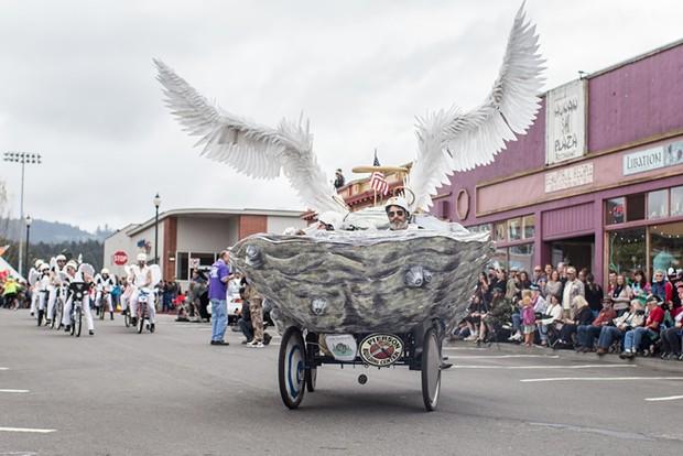 Shell's Angels, followed by its biker gang entourage. - ALEXANDER WOODARD