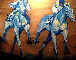 "Sherri Dobay's ""Prussian Tango"" and other equestrian paintings are up at Vanity. She also makes wine — check out the images on her bottles at the reception."