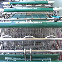 Grocers and lifestyles Shopping carts outside Wildberries Marketplace in Arcata.