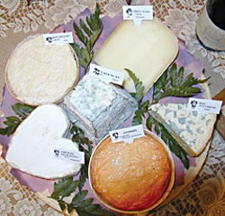 Six French cheeses.  Photo from Wikimedia Commons.