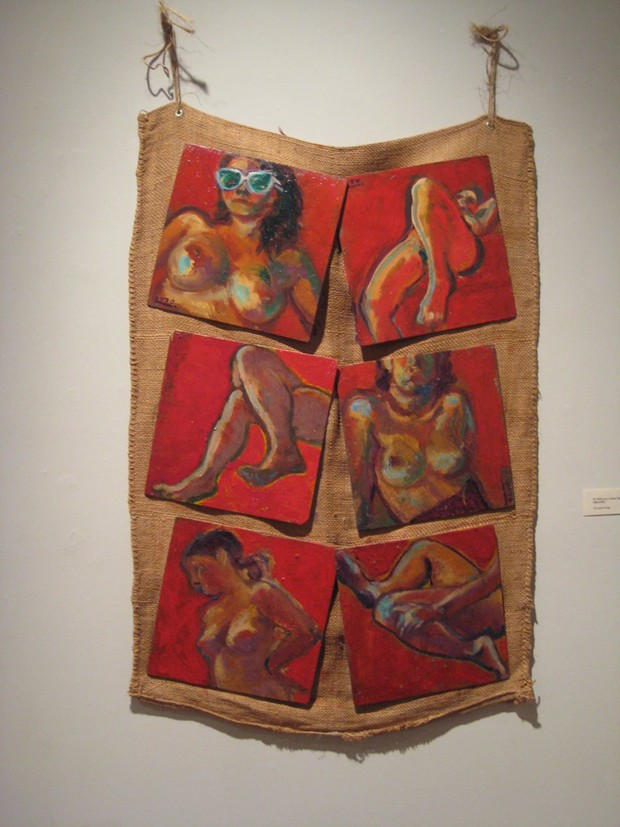 Six Nudes on a Gunny Sack - PAINTING BY CURTIS OTTO; PHOTO BY BOB DORAN