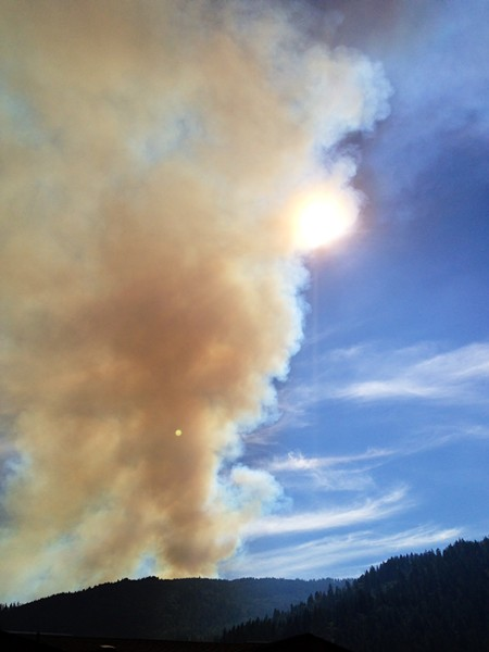 Smoke from a fire on Bald Hill in Hoopa obscures the late afternoon sun on Friday, Sept. 12. - PHOTO COURTESY AN NCJ READER