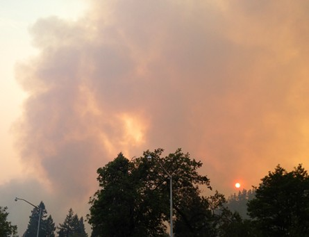 Smoke from the Dance Fire in Orleans nearly blots out the sun earlier this week. - KEN MALCOMSON