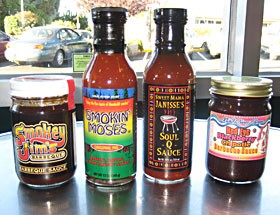 Smokey Jim's, Smokin' Moses, Mama Janisse's Soul-Q-Sauce, Mad River Farms Red Eye Chipotle Blackberry. Photo by Bob Doran.
