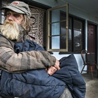 Guy Anderson, pictured here on the day the city of Eureka shuttered the Blue Heron Lodge, is one of seven tenants who filed a claim for damages against the city, arguing it had violated his civil rights. Anderson, who was moved into transitional housing, had lived at the Heron for six months.