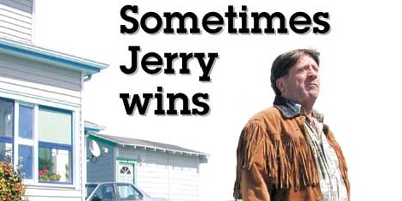 Sometimes Jerry wins Still standing, Jerry Droz in West Side Eureka. Photo by Helen Sanderson.