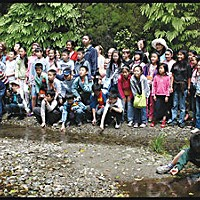 Students from Chengdu, China, posing for a group picture in Fern Canyon last week. Photo by Yulia Weeks.