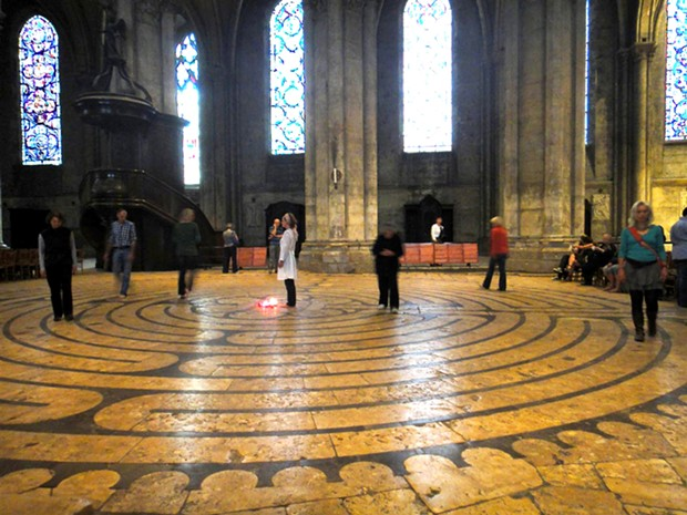 The 861-feet long, 11-circuit labyrinth in Chartres Cathedral was completed around the year 1220. - PHOTO BY BARRY EVANS