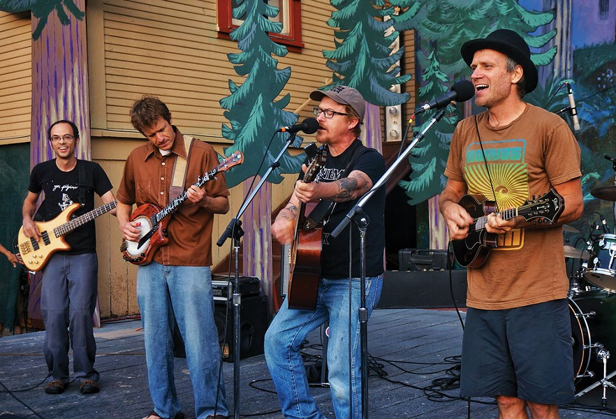 "The Absynth Quintet closes out the Humboldt Folklife All Day Festival on Saturday, July 19, with an encore featuring guitarist Clay Smith, who returned to Blue Lake to sing his Rubberneckers hit, ""Another Sunny Day."" - PHOTO BY BOB DORAN."