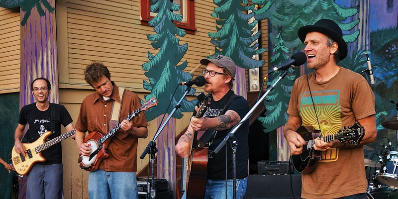 "The Absynth Quintet closes out the Humboldt Folklife All Day Festival on Saturday, July 19, with an encore featuring guitarist Clay Smith, who returned to Blue Lake to sing his Rubberneckers hit, ""Another Sunny Day."""