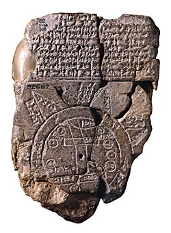 "The Babylonian Imago Mundi, dated to the 6th century BC, shows Babylon on the Euphrates surrounded by a circular landmass with a seven-pointed star corresponding to the seven heavenly ""wanderers."" (British Museum/public domain)"