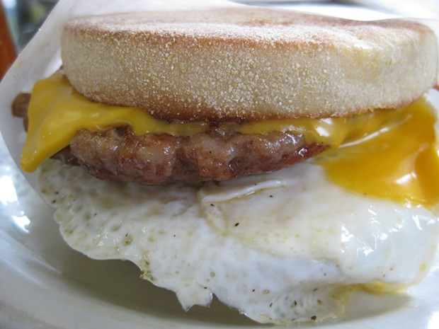 The breakfast sandwich with sausage: a more responsible weekday choice. - JENNIFER FUMIKO CAHILL