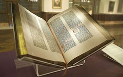 The first copy of the Gutenberg Bible brought to the United States, now in the New York Public Library.