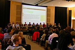 The first public forum of the Cabinet for Institutional Change at Humboldt State University. Photo by Heidi Walters