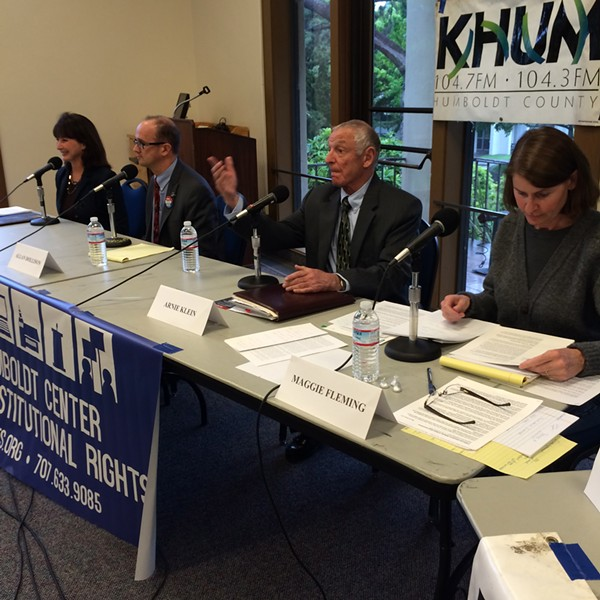 The gloves came off at the Humboldt Center for Constitutional Rights' district attorney debate Thursday night. - KACI POOR, DEVELOPMENT AND OUTREACH DIRECTOR FOR THE HUMBOLDT CENTER FOR CONSTITUTIONAL RIGHTS