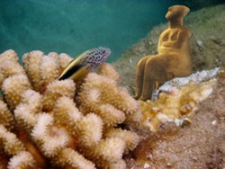 PHOTO COLLAGE BY ELLEN LAND-WEBER - The Hawkfish Regards a Cycladic Woman