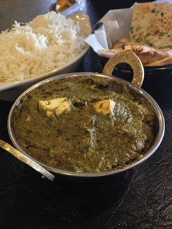 PHOTO BY JENNIFER FUMIKO CAHILL. - The humble but rich saag paneer.