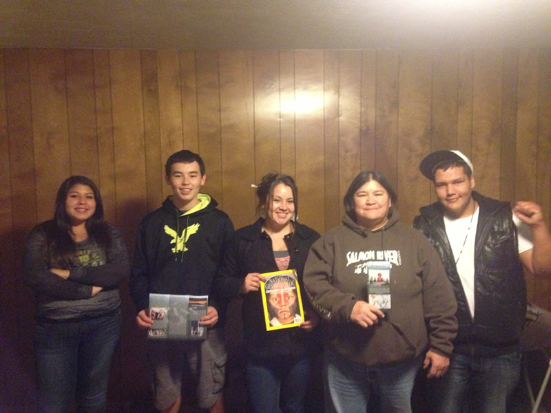 Part of the delegation, left to right: Mahlija Florendo, Yurok; Damien Scott, Hoopa/Yurok; Anna Rose Colegrove, Hoopa/Yurok; Dania Rose Colegrove,Hoopa/Yurok; and Sammy Gensaw, Yurok/Karuk