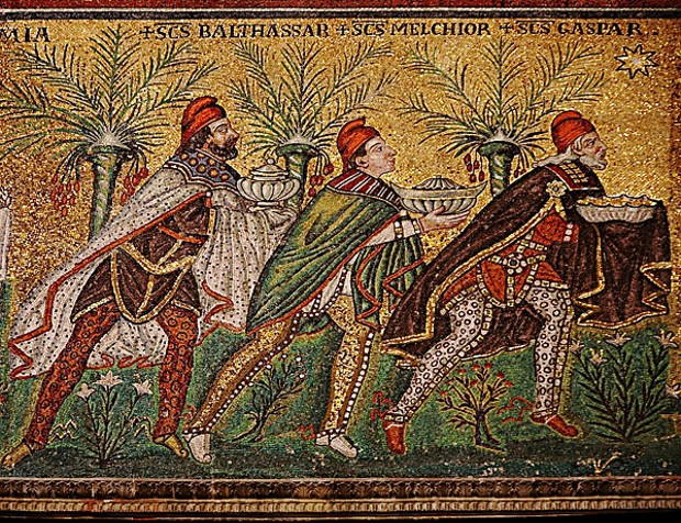 The Magi according to a 6th century mosaic in Ravenna, Italy. [Creative Commons license, photo by Nina Aldin Thune.]