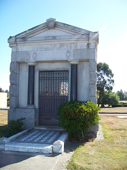 PHOTO BY HEIDI WALTERS - The mausoleum where Ocean View Cemetery Administrator Don McCombs keeps 60 urned remains whose kin paid for their cremation but then abandoned them at the cemetery.