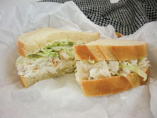 The purist's crab sandwich at Myrtle Avenue Market. - PHOTO BY DREW HYLAND